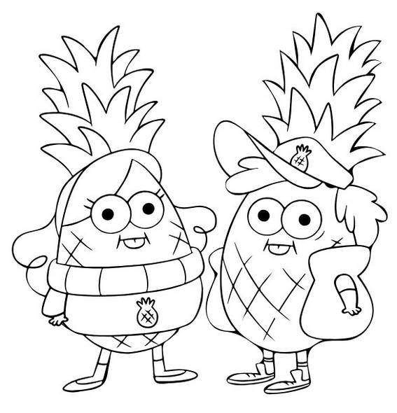 Pineapples Gravity Falls Coloring Page