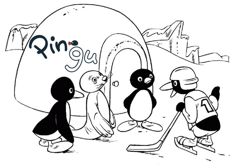 Pingu In Front Of Igloo Coloring Page 1