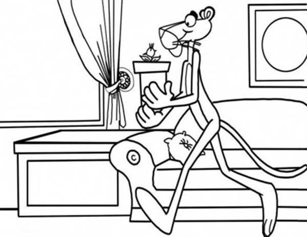Pink Panther Finding Clue Coloring Pages