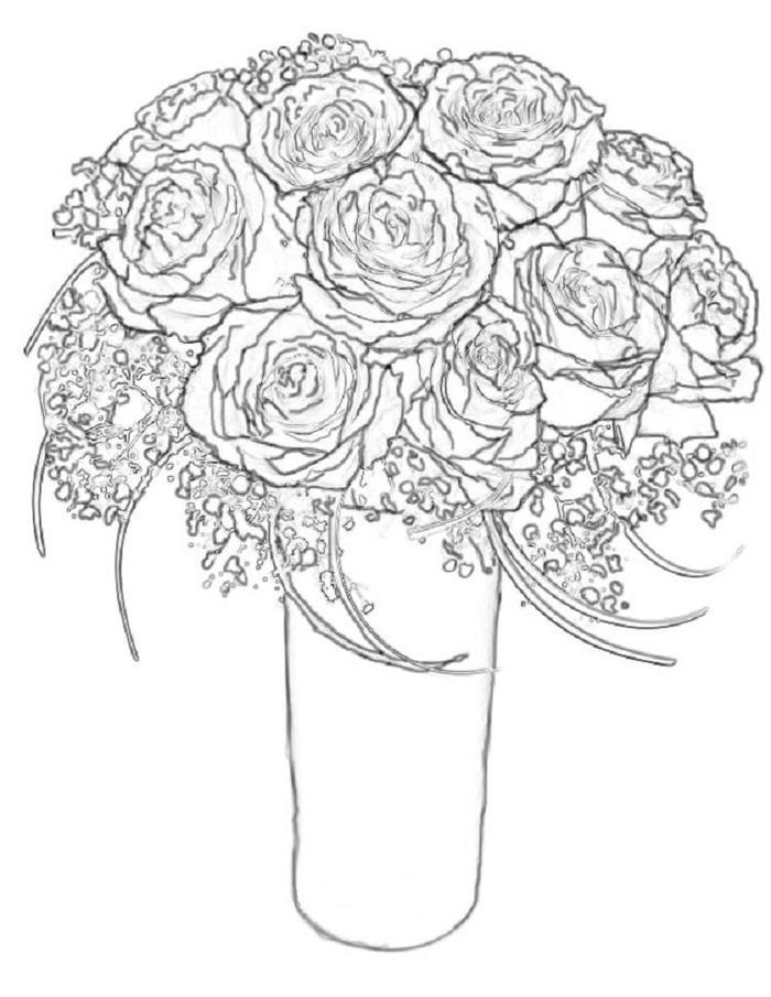 Pink Roses Coloring Pages