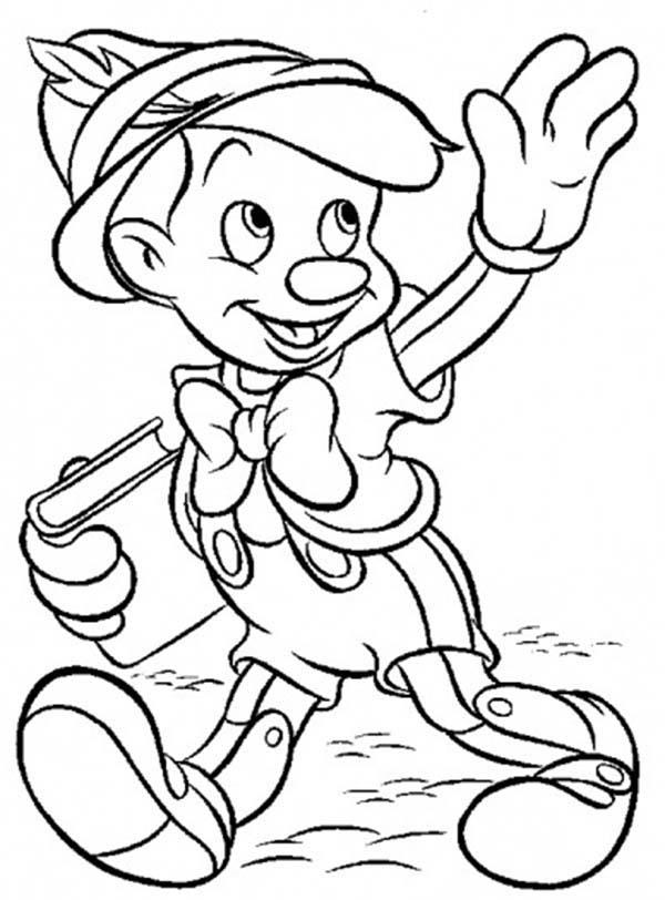 Pinocchio Is Going To School Coloring Pages