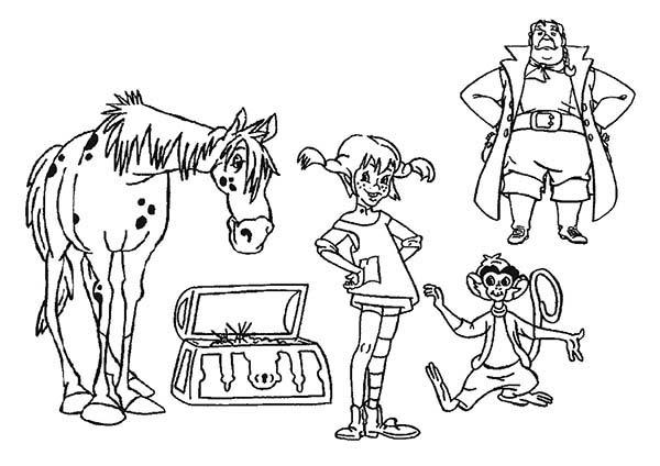 Pippi Longstocking All Characters Coloring Pages