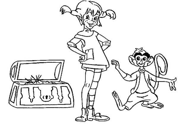 Pippi Longstocking And Treasure Chest Coloring Pages