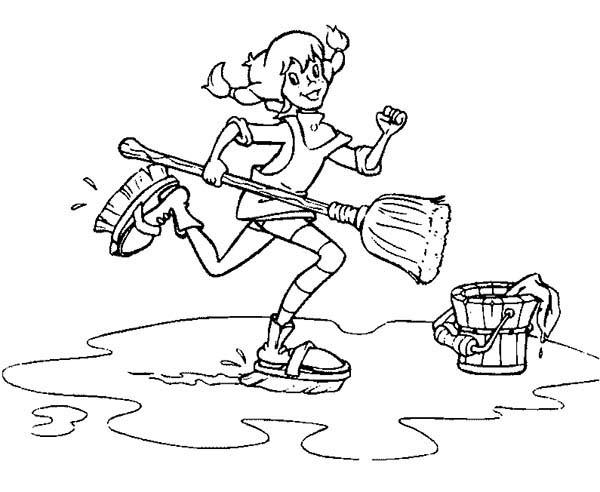 Pippi Longstocking Moping The Floor Coloring Pages