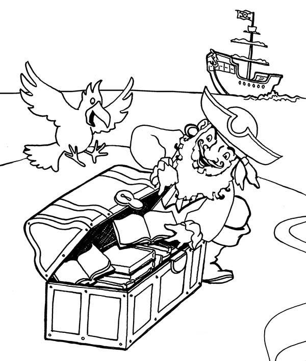 Pirate Captain Hide His Treasure Coloring Pages