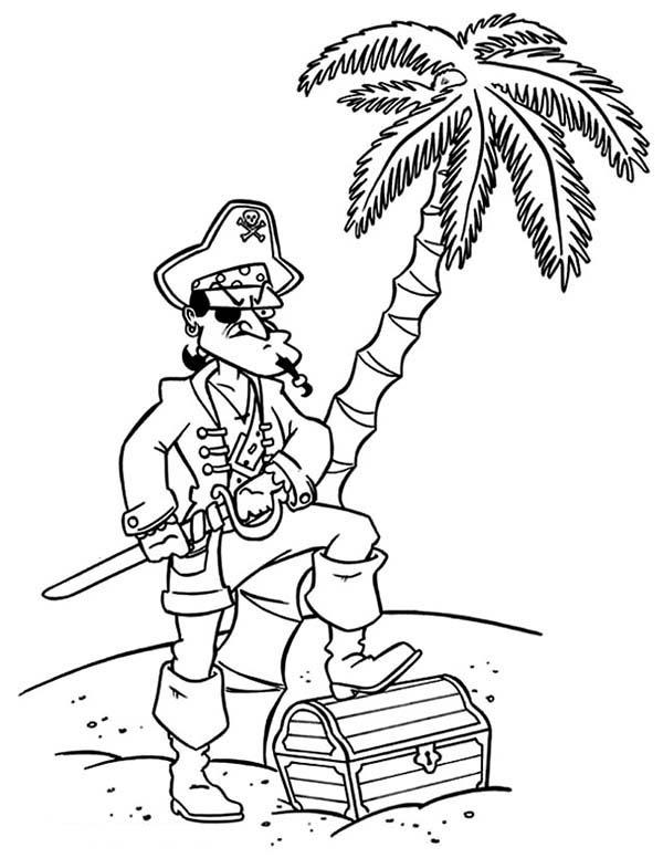 Pirate Captain Treasure Chest Coloring Pages