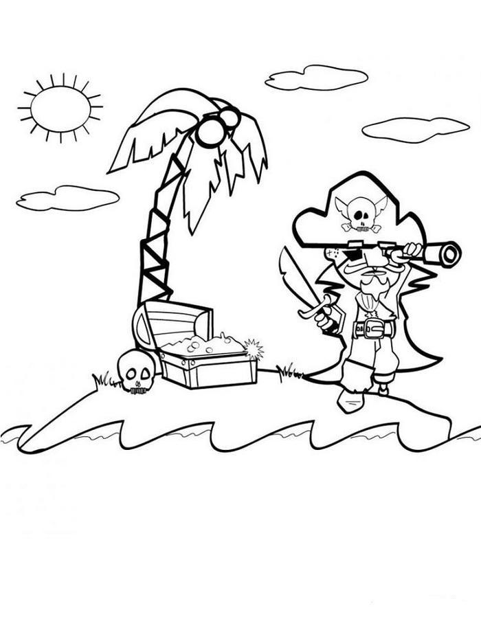 Pirate Coloring Pages Tropical Islands