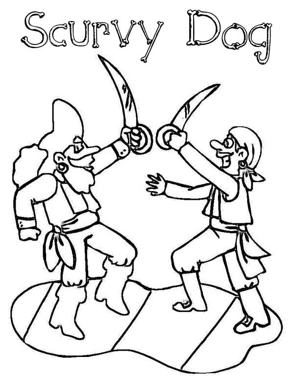 Pirate Fight Scurvy Dog Coloring Pages