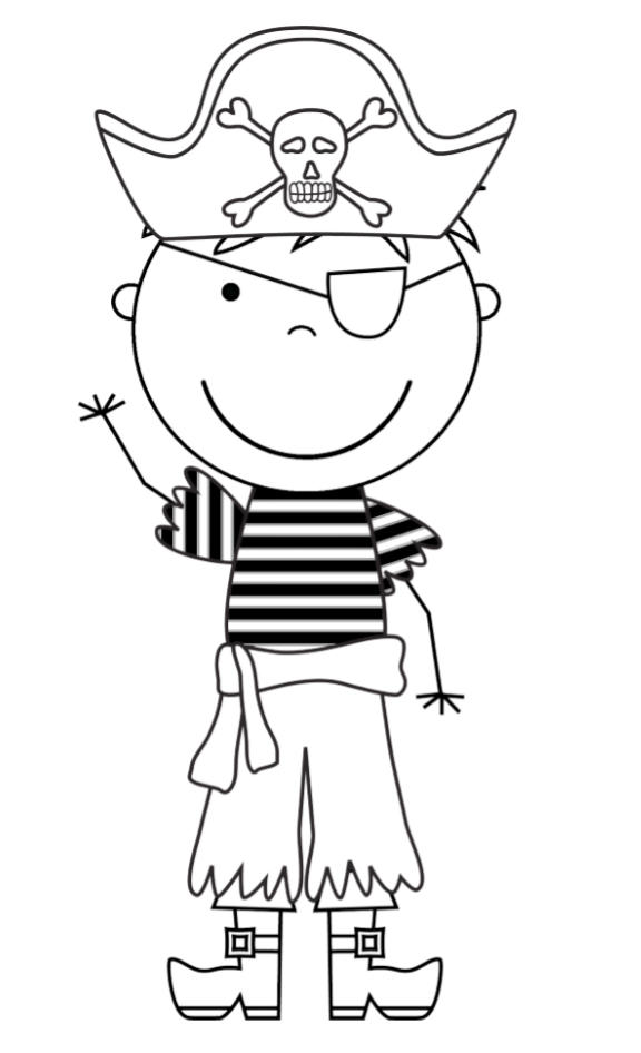 Pirate Kid Cartoon Coloring Page For Boys