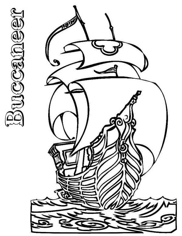 Pirate Ship Boats Buccaneer Coloring Pages