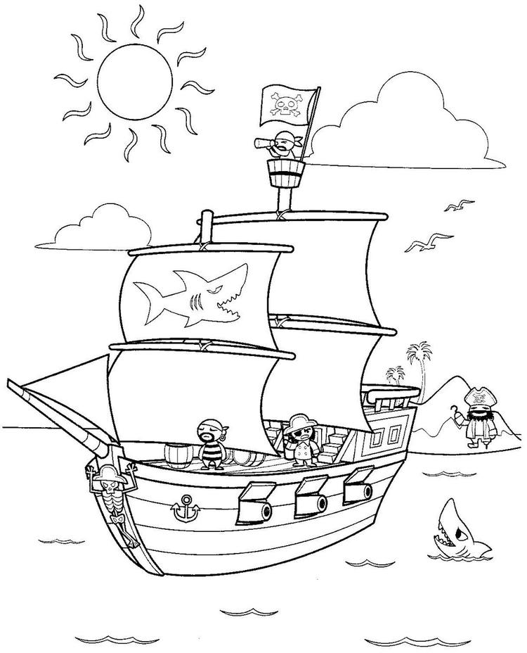 Pirate Ship Themed Coloring Pages For Kids - Coloring Ideas