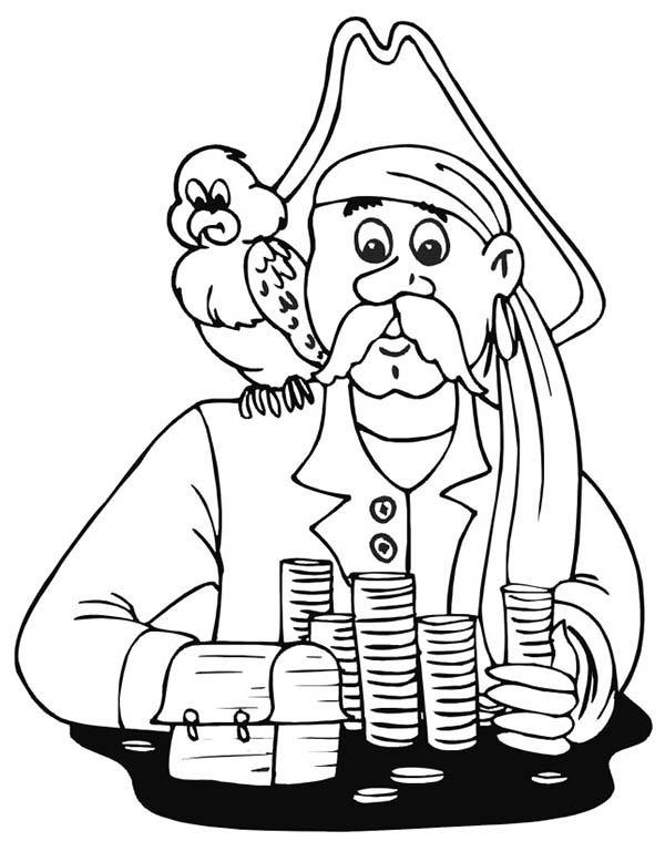 Pirate Treasure And Pirate Bird Coloring Pages