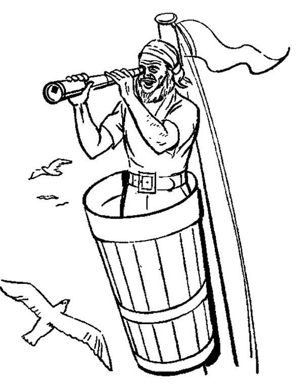Pirate Using Telescope Coloring Pages