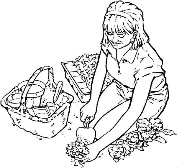 Planting Flower Seed In Gardening Coloring Pages