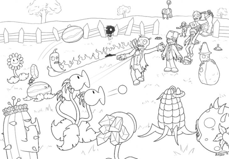 Plants Vs Zombies Coloring Pages Battle