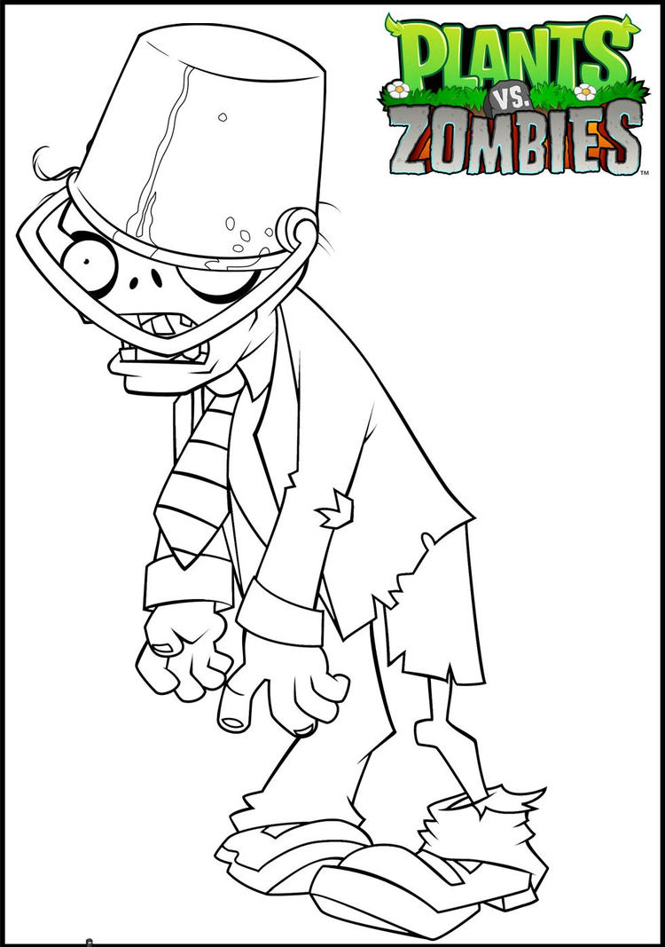 Plants Vs Zombies Coloring Pages Buckethead Zombie