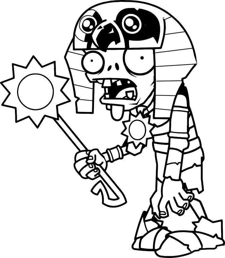 Plants Vs Zombies Coloring Pages Mummy Ra Zombie