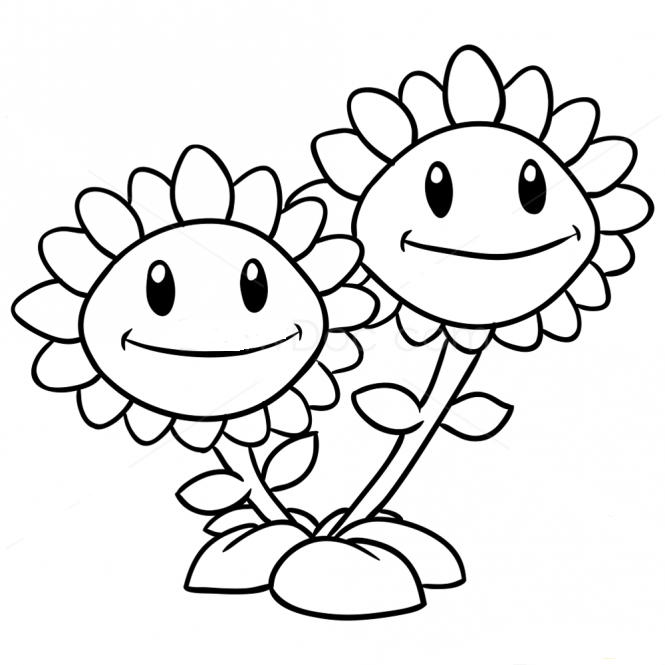 Plants Vs Zombies Coloring Pages Twin Sunflower