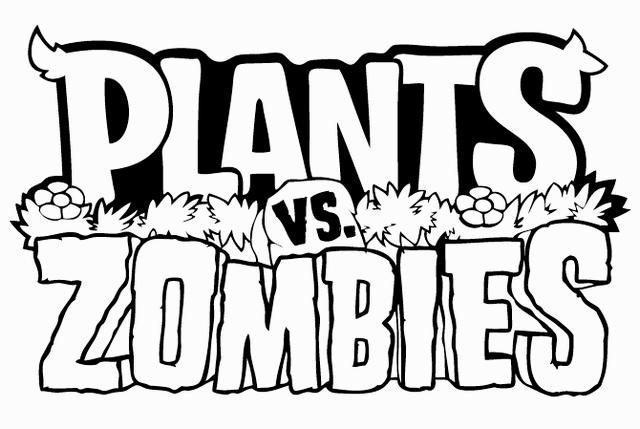 Plants Vs Zombies Logo Video Game Coloring Picture