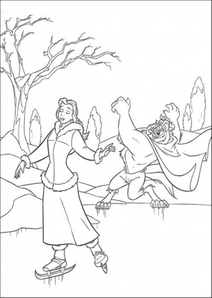 Play Ice Skating Beauty And The Beast Winter Coloring Pages For Kids