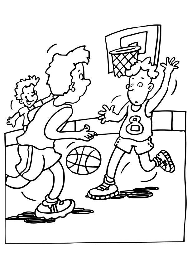 Playing Basketball Coloring Pages