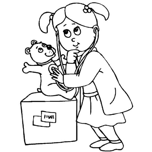 Playing Doctor Working At Hospital Coloring Pages