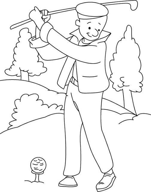 Playing Golf Sports Coloring Pages