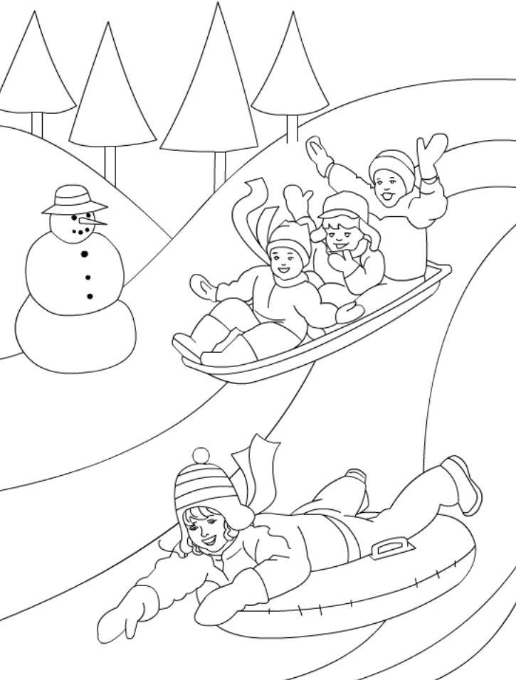 Playing In The Winter Day Coloring Page