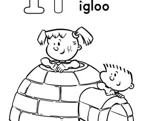 Playing inside igloo coloring pages