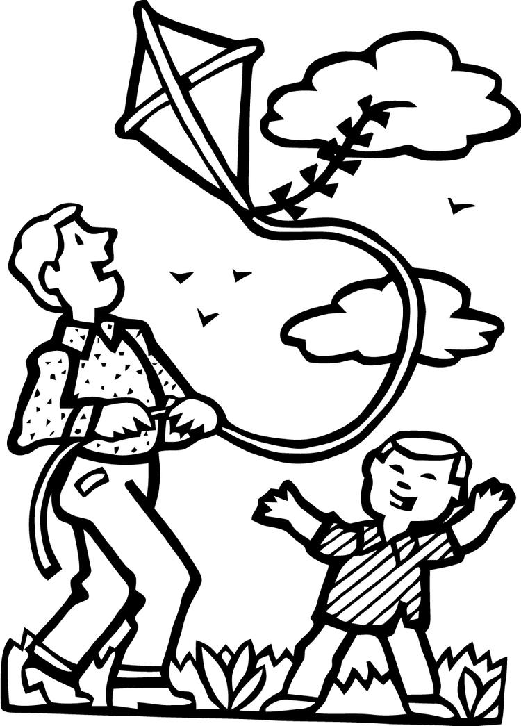 Playing Kite Coloring Pages