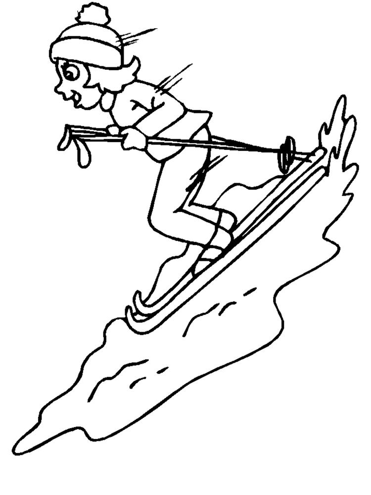 Playing Ski Winter Coloring Pages