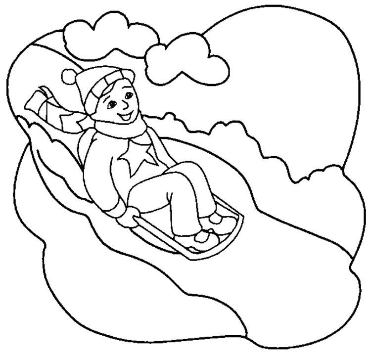 Playing Sled In The Winter Coloring Pages