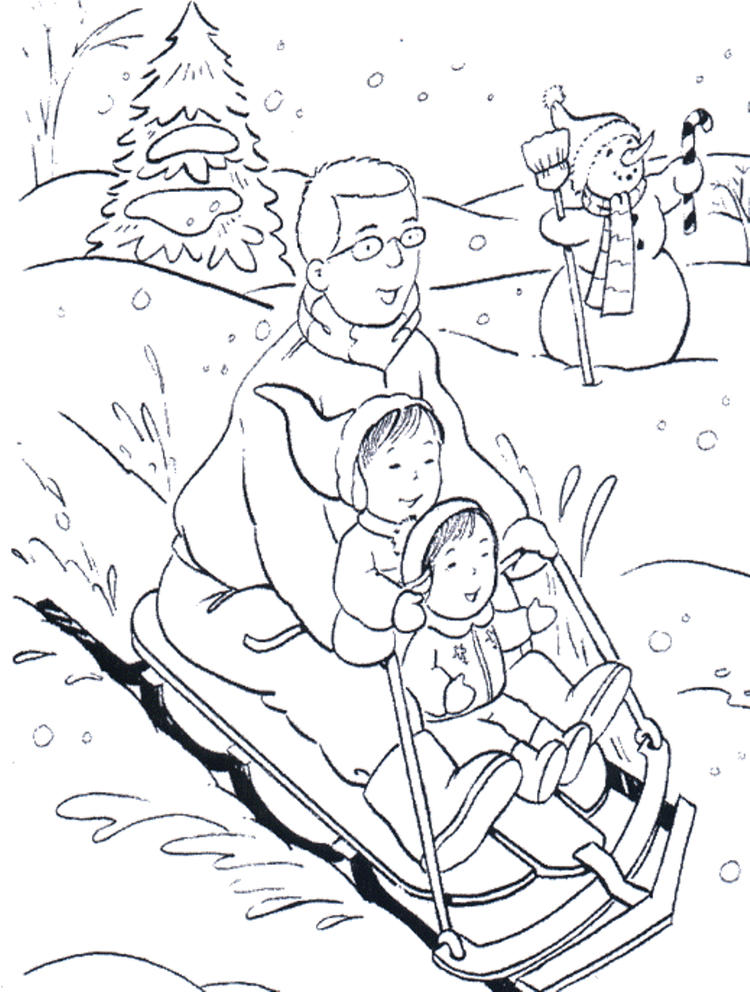 Playing Sled In Winter Coloring Pages