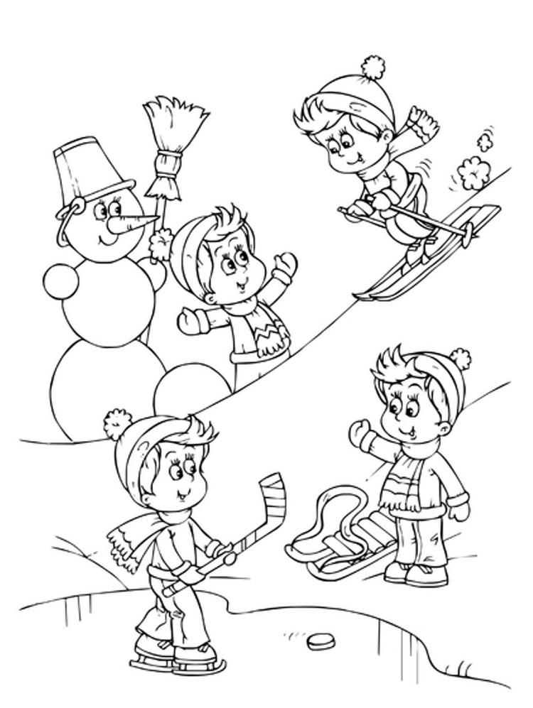 Playing Snow In The Winter Coloring Pages
