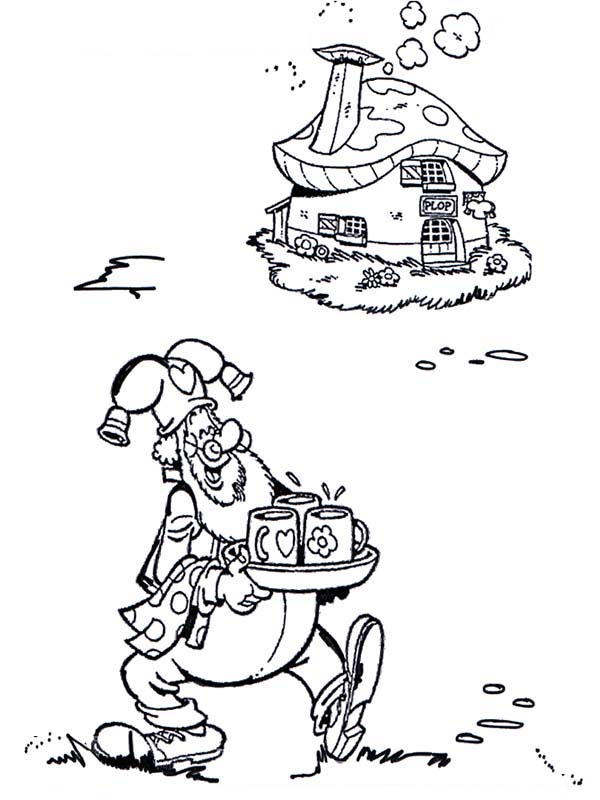 Plop The Gnome Bring Drink For His Guest Coloring Pages