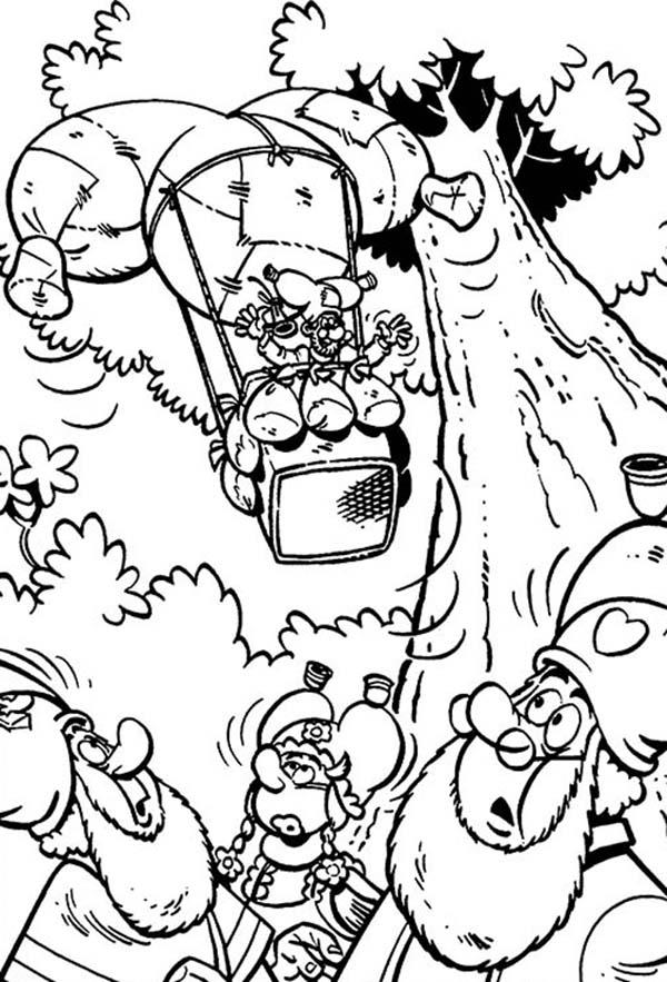 Plop The Gnome Ride Air Balloon Coloring Pages