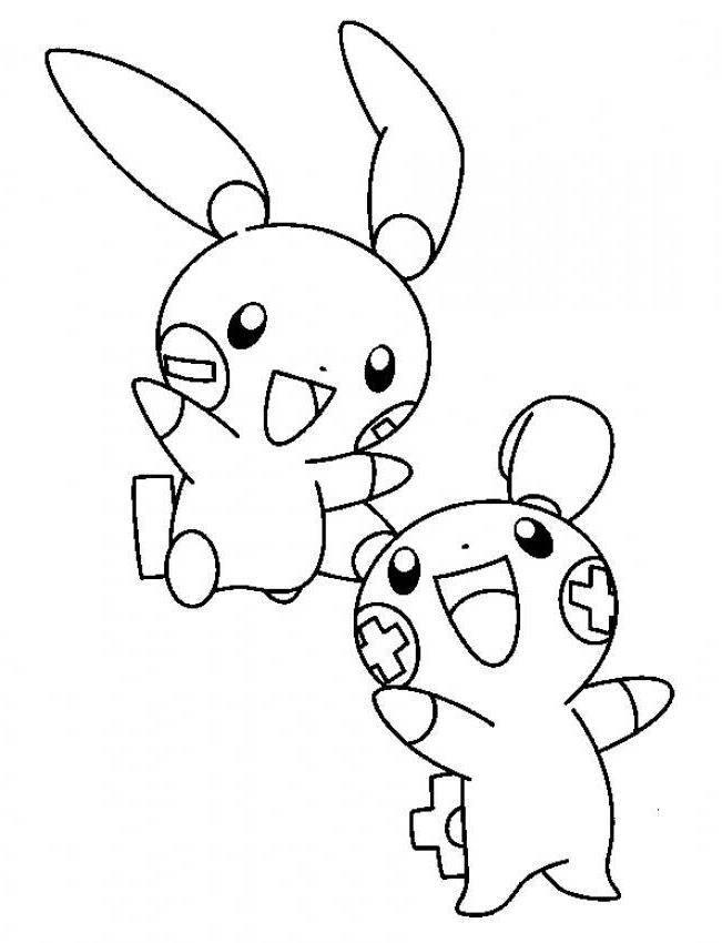 Plusle And Minun Electric Pokemon Coloring Page