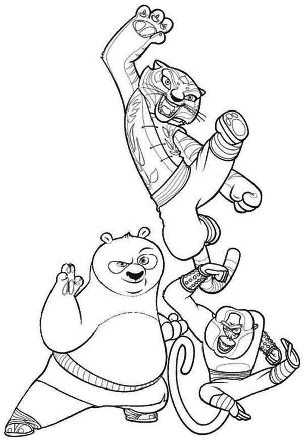 Po And Tigress And Monkey Character From Kung Fu Panda Coloring Page