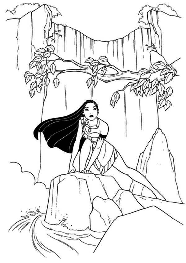 Pocahontas Coloring Pages At Waterfall