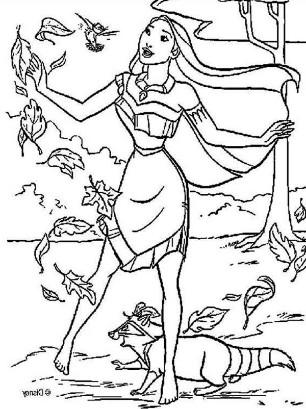 Pocahontas Coloring Pages Fall Leaves