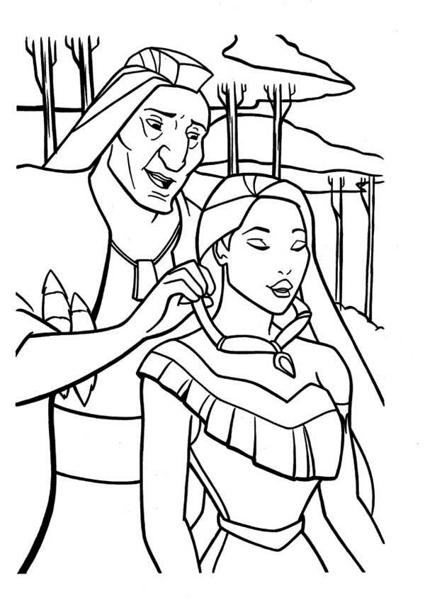 Pocahontas Coloring Pages Wearing Necklace