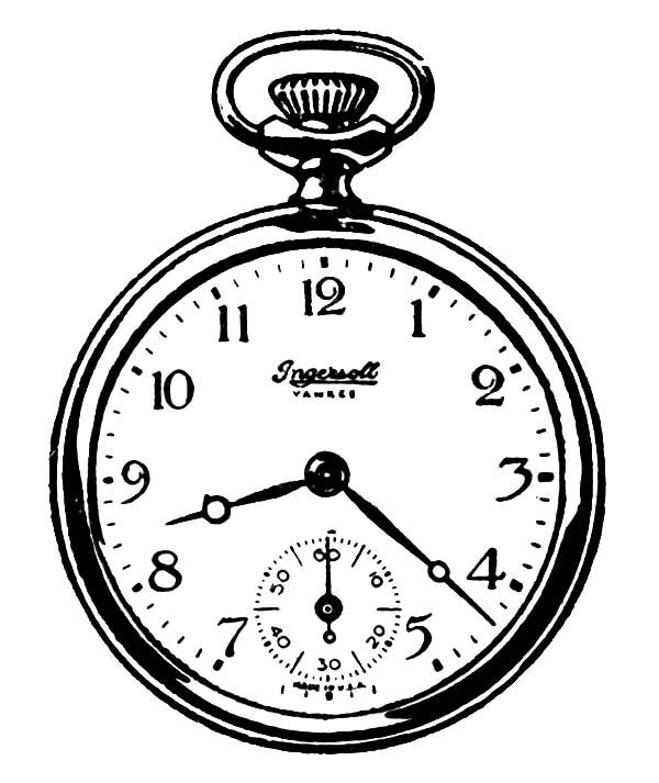 Pocket Analog Clock Watch Coloring Pages