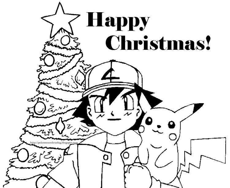 Pokemon Cartoon Free Coloring Pages For Christmas