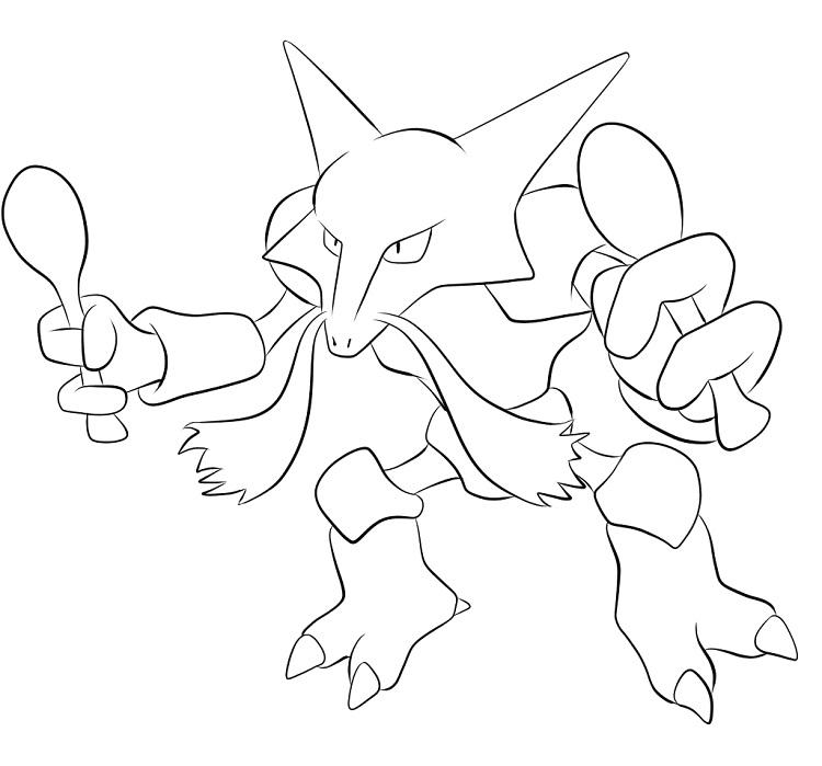 Pokemon Coloring Pages Alakazam