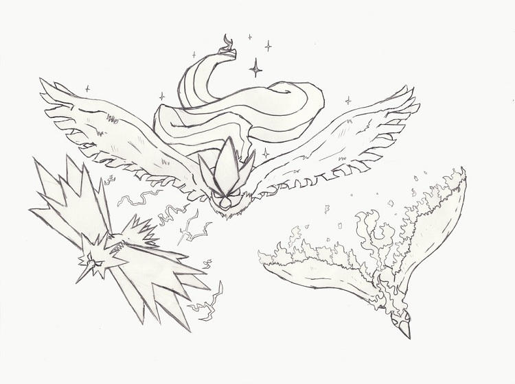 Pokemon Coloring Pages Legendary Birds
