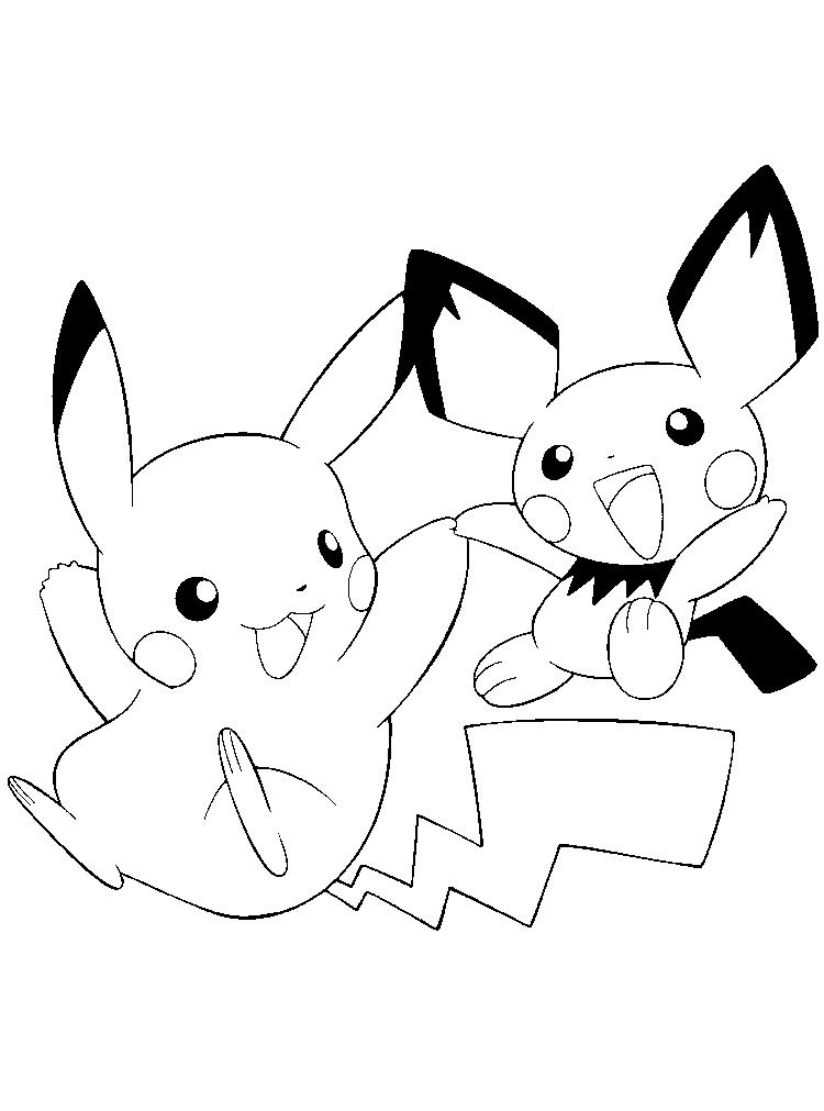 Pokemon Coloring Pages Pichu And Pikachu
