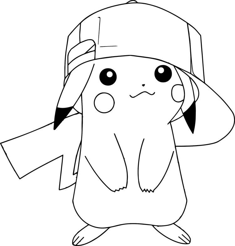 Pokemon Coloring Pages Pikachu Wearing Hat