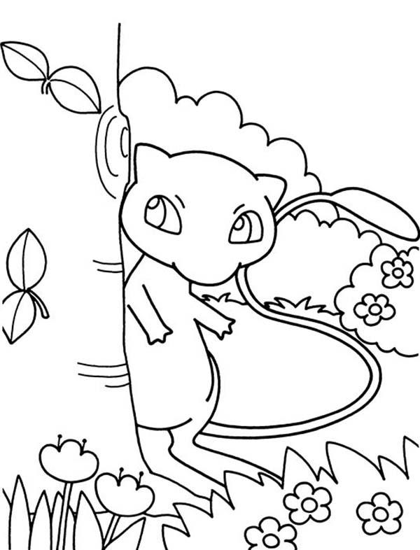 Pokemon Hiding Behind A Tree Coloring Pages
