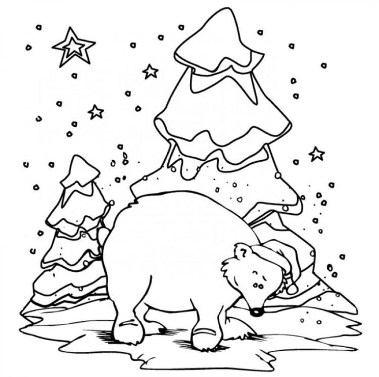 Polar Bear Coloring Pages Christmas