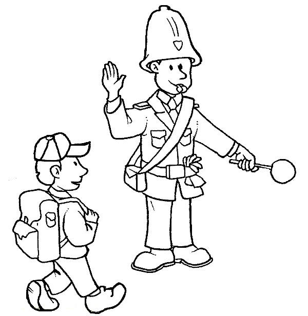 Police Coloring Pages Crossing Guard